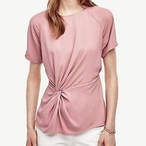 Ann Taylor Knotted Mixed Media Top Lg NWT